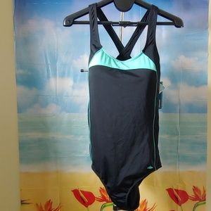 NWT Aquabelle black&aqua crisscross back swimsuit